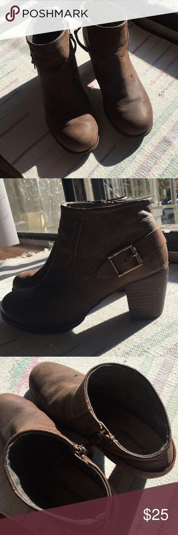 """Brown leather booties Cute brown caterpillar leather booties with a 2.5"""" heel. Great used condition. Caterpillar Shoes Ankle Boots & Booties"""