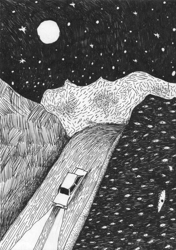 Jake Gordon P3 Author: Selena Varacalli I love the emphasized lines and natural landscapes utilized here, that exaggerate the real life situation of driving over the rolling hills at night. This image makes me really feel like the hills are rolling, and I love the black and white usage. This is such a beautiful piece of art, I would love to be able to create something like this. Cars and driving are life.