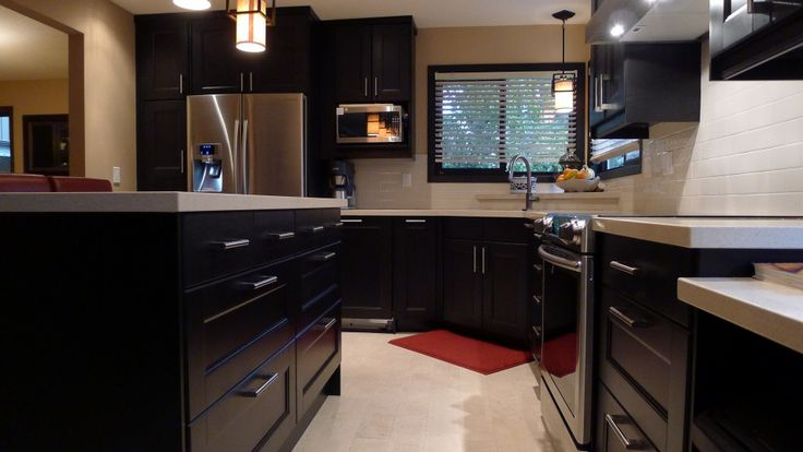 Kitchen Benefits of Having a Kitchen Island: Elegant Modern Black Shine With Grey Colors Kitchen Ideas With High Gloss Finish Wooden Chest Of Drawers A Couple Of Bronze Pendant Lamps Coountertops And White Flooring Tiles  And Kitchen Cabinet