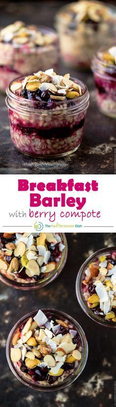 Breakfast barley with nuts and homemade berry compote! Try this for your next breakfast, you may just ditch that cereal box!