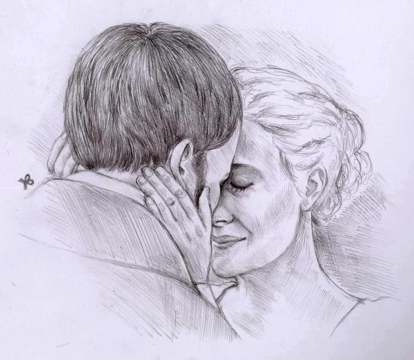 Romola Garai & Jonny Lee Miller by Fiona, drawing http://RomolaGarai.org