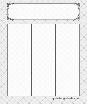 3x3 blank prinatable bingo card template