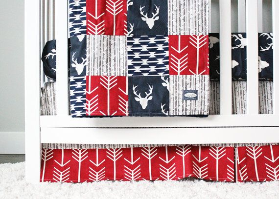 Woodlands Crib Bedding Navy Deer Red and Navy by GiggleSixBaby