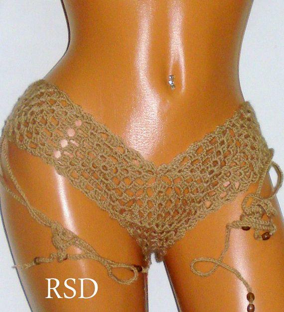 Crochet Bikini Crochet Beige Triangle Bikini by RuveydaSweetDreams