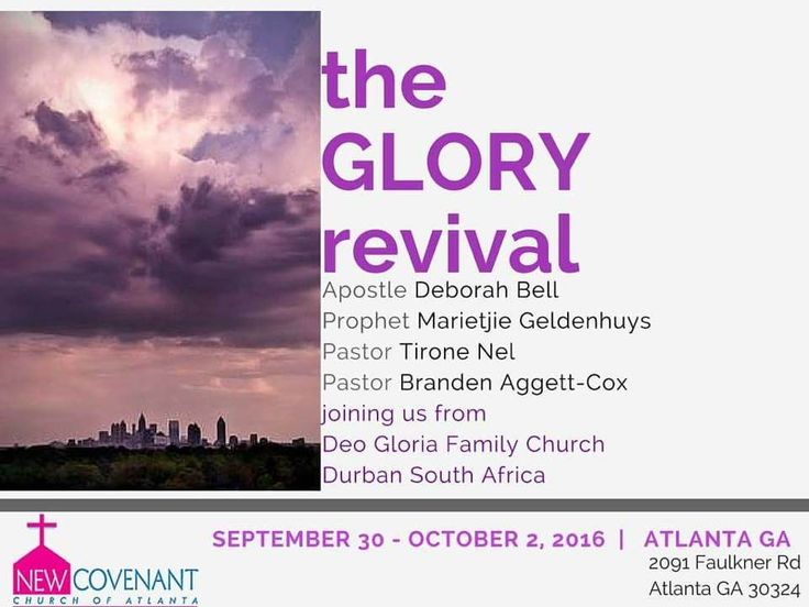 Apostle Deborah Bell and her team will be ministering at New Covenant Church of Atlanta, USA from 30 Sep - 2 Oct for the GLORY Revival Weekend! If you're in or near Atlanta, don't miss this! Details below. #atlanta #gaychristian #gaychurch #revival #lgbt #usa #conference #gay #glory