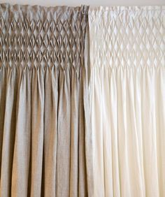 Organic Linen Smocked Curtain--i love smocking!  Since the boys are waaayy past the age of getting away with smocked clothing, I'll have to get the curtains smocked.