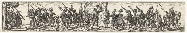 Johann Theodor de Bry | Stoet van soldaten, Johann Theodor de Bry, Jost Amman, 1581 - 1623 | Een stoet van soldaten gewapend met lansen, zwaarden, hellebaarden en geweren. Rechts de aanvoerder te paard. In het midden een vlaggenzwaaier en twee muzikanten op trommel en fluit.