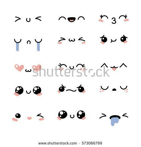 Set of cute lovely kawaii emoticon. Doodle cartoon…