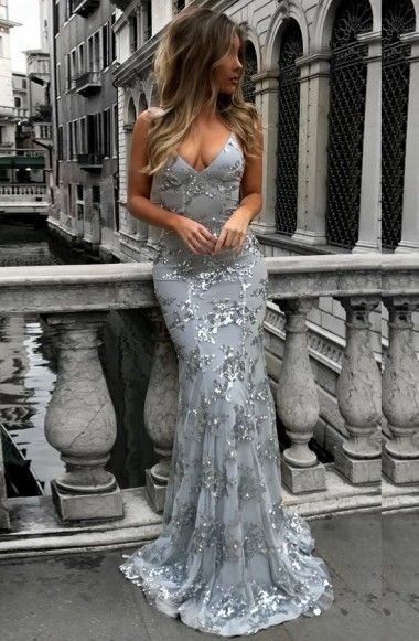 84ad877a309 Mermaid Deep V-Neck Backless Sweep Train Grey Tulle Prom Dress with  Appliques