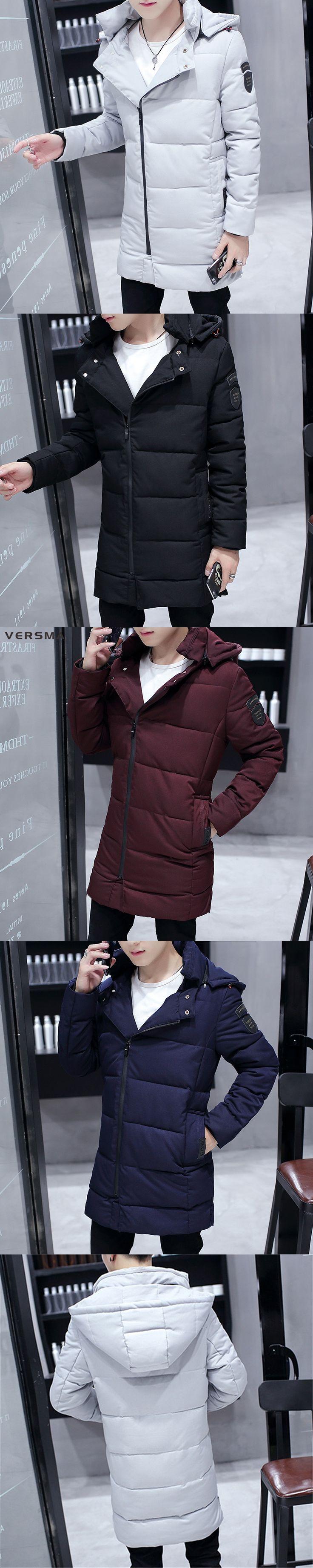 VERSMA Korean Slim Fit Canada Winter Men Parka Jacket Coat for Teenager Warm Casual Puffy Russian Mens Winter Jackets Parkas Men