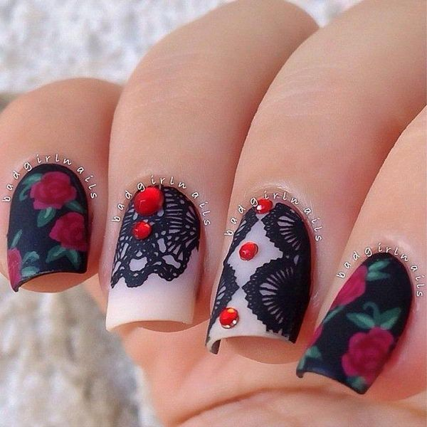 - Acrylic nails with stickers