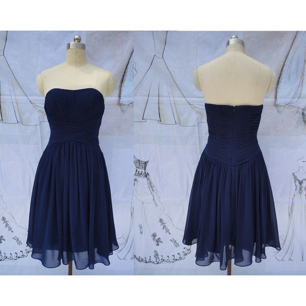 Navy Blue Bridesmaid Dress Short Formal Dress Navy Blue Evening Dress... ($85) ❤ liked on Polyvore