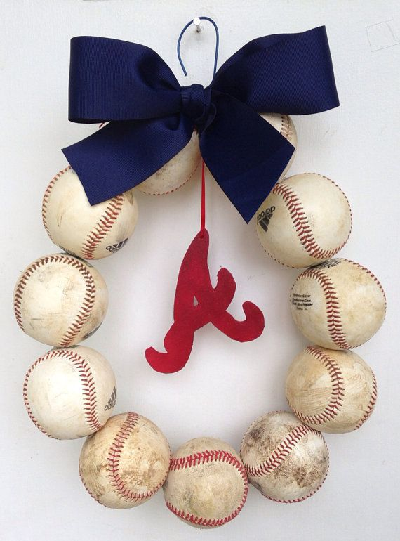 Atlanta Braves Baseball Wreath by NTgoodthings on Etsy, $45.00 Make it a St. Louis Cardinals one and you've got yourself a deal ;)