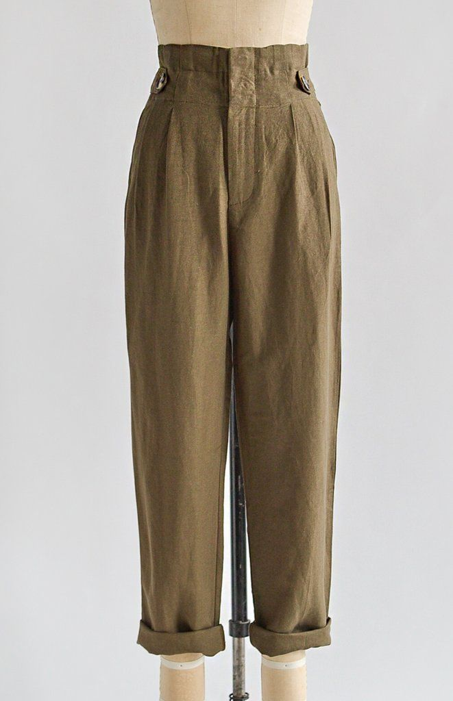 a6cf3d4756fd7 Vintage 1940s Inspired High Waist Pants   Land Girl Trousers