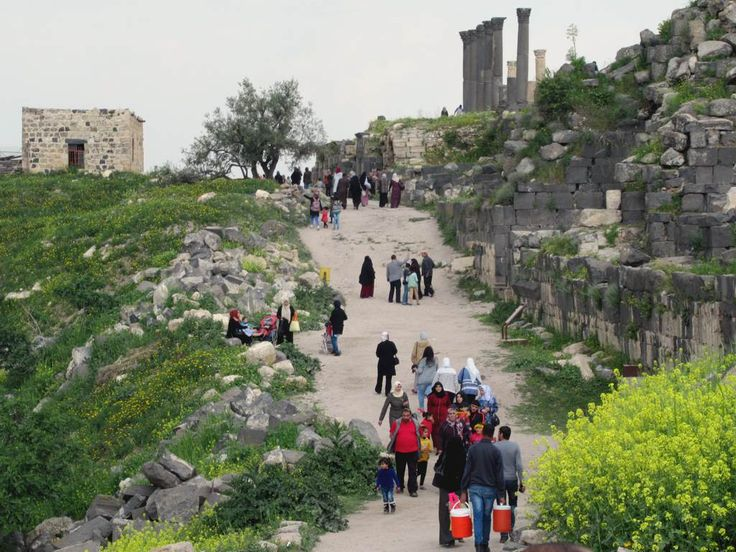 This street leading into the Roman archaeological site at Umm Qays (Gadara) in northern Jordan was lined with shops in antiquity.