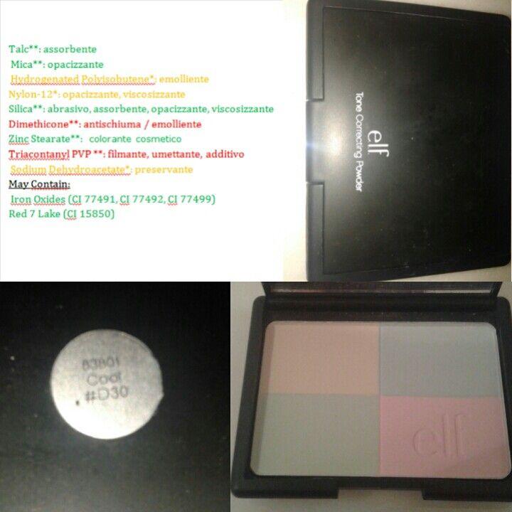 e.l.f - Tone correcting powder • Price : 4.95 euros • great price / quality ratio • matt finish has quite long duration • fine powder • CONS • INCI • not easy availability