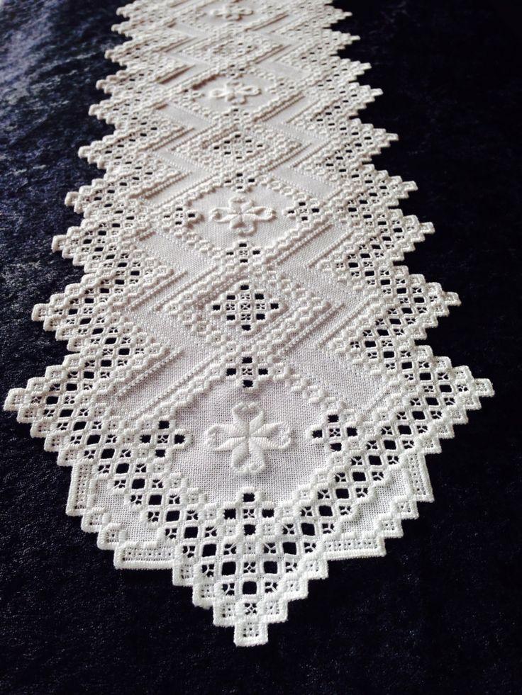 Hardanger Table Runner White on White  by norwegianneedle on Etsy, $185.00
