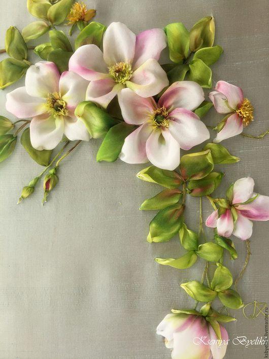 Silk ribbon embroidery Картины цветов ручной работы. Ярмарка Мастеров - ручная работа.