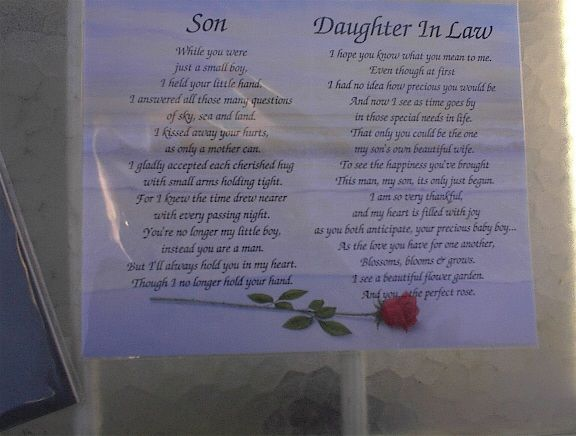Daughter In Law Personalized Poem: Poem For Son & Daughter-in-law