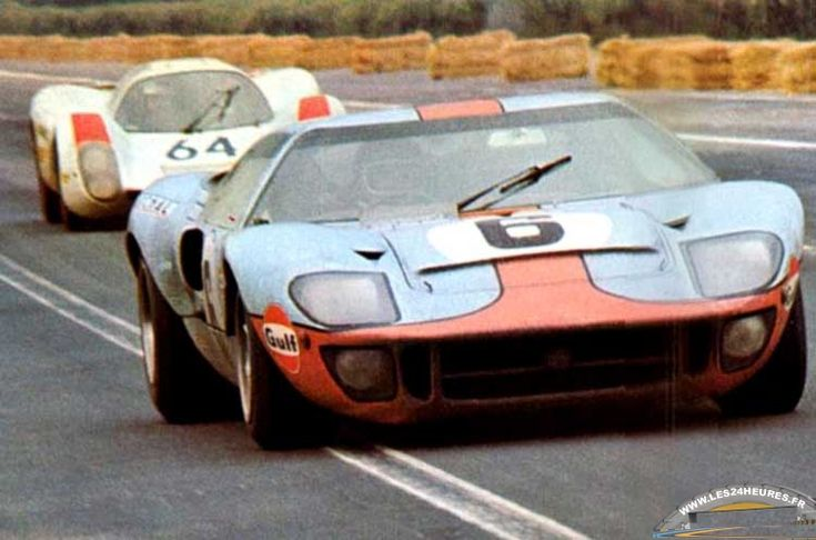 Jacky Ickx / Jackie Oliver, #6 Ford GT40 Mk.I (John Wyer Automotive Engineering Ltd), followed by Hans Herrmann / Gerard Larrousse, #64 Porsche 908 (Porsche System Engineering), 24 Hours Le Mans 1969 (Finished 1st and 2nd)
