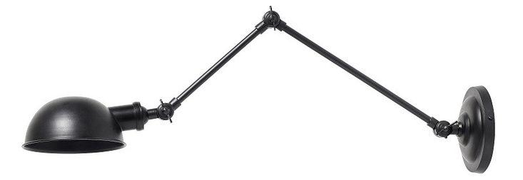 Nordal - Aura Væglampe - Sort - Aura væglampe fra Nordal er fremstillet i jern. Den sorte væglampe har et rustikt og industrielt udtryk, der vil passe godt ind i de minimalistiske hjem for at bryde det moderne look. Den stilfulde lampe kan justeres tre steder, så den kan tilpasses efter dine behov.