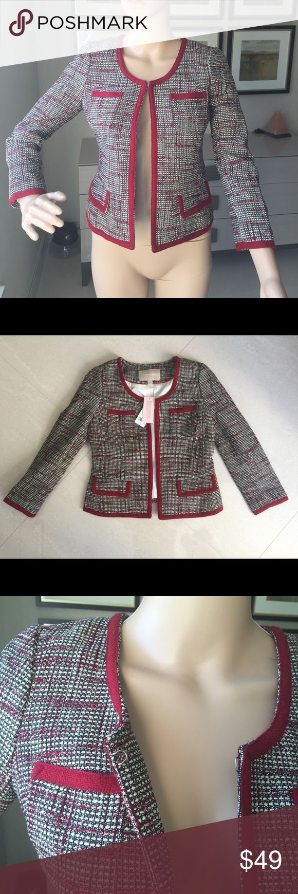 Banana Republic Blazer size 0P Banana Republic Blazer size 0P. Multicolored with red accents at the pockets and trim. Tags still attached. Originally purchased for $130. Has eye hook closures on the front Banana Republic Jackets & Coats Blazers