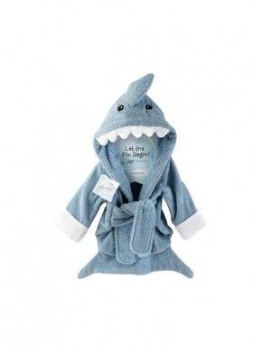 Peignoir enfant requin bleu