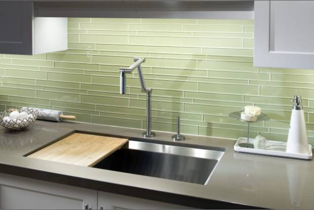 Favorite green glass tile backsplash run it Bamboo backsplash