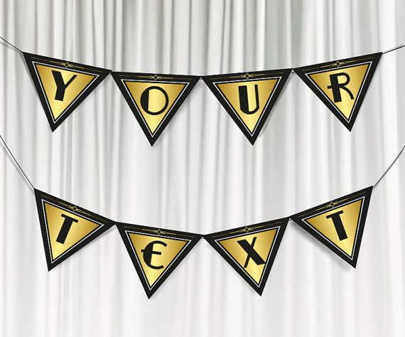 Printable party banner. Great Gatsby party by PartyGraphix on Etsy