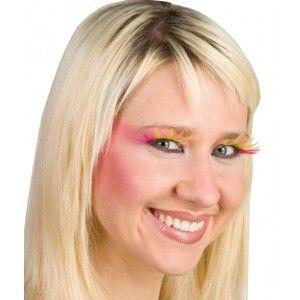 Faux cils plumes roses et jaune femme, Faux cils glamour pour un regard unique et des yeux sublimes, maquillage de fête.