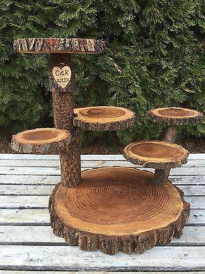 Large Log Elm Wood Rustic Cake Cupcake Pie Stand Wedding 6 levels