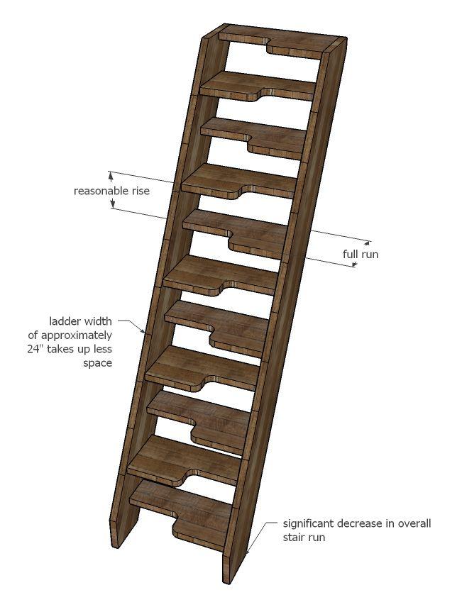 Stair Err Ladder Plans Alternating Treads Living Room