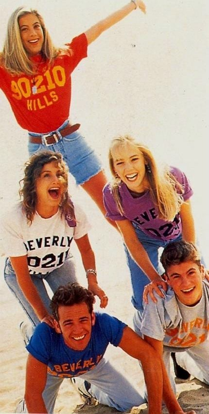 Beverly Hills, 90210'S Tori Spelling as Donna Martin , Gabrielle Carteris as Andrea Zuckerman , Jennie Garth as Kelly Taylor , Luke Perry as Dylan Mckay and Brian Austin Green as David Silver