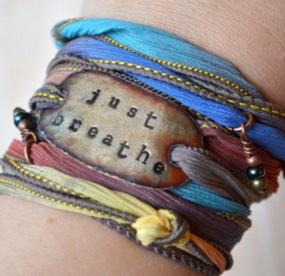 Silk wrap bracelet- JUST BREATHE- Boho Silk Wrap Bracelet- SALE- yoga wrap- ribbon bracelet- shabby chic on Etsy, $33.82 AUD