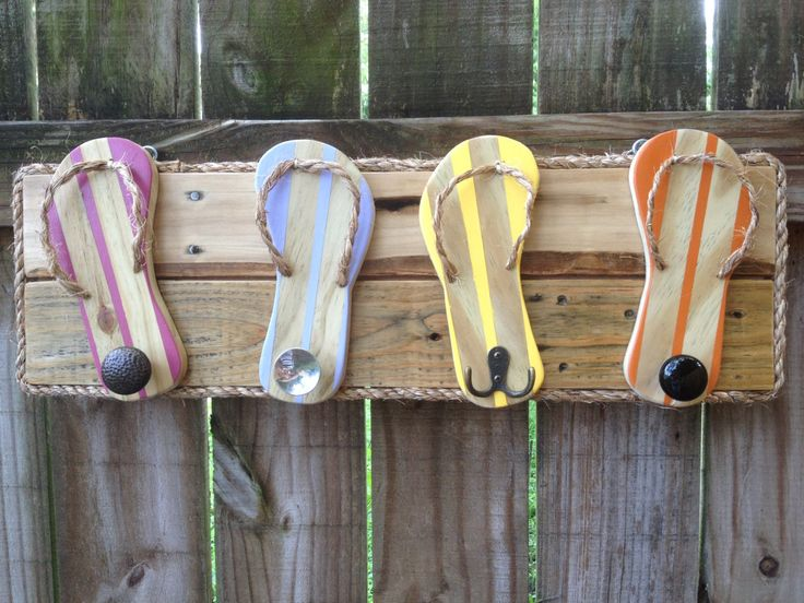 Flip Flop Towel Holder, Outdoor towel hooks, Bathroom towel rack, Beach bag hooks, Pool House decor, Dog Leash holder, Hat hooks, Robe hooks by FunkieJunkEmporium on Etsy