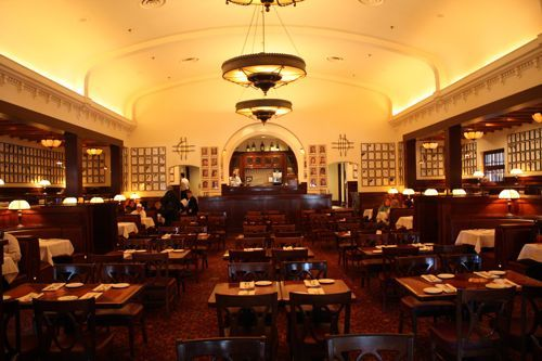 Brown Derby restaurant's interior. Always like this place. The design cue I like is the up-lit crown molding. Also like the chandeliers.