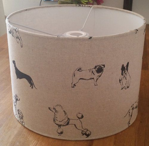 Pooches fabric drum lampshade from www.radiance-designs.co.uk