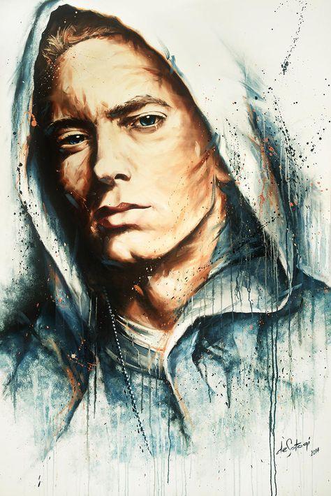 "Oil on canvas painting by deSotogi of Eminem entitled ""One Shot"""