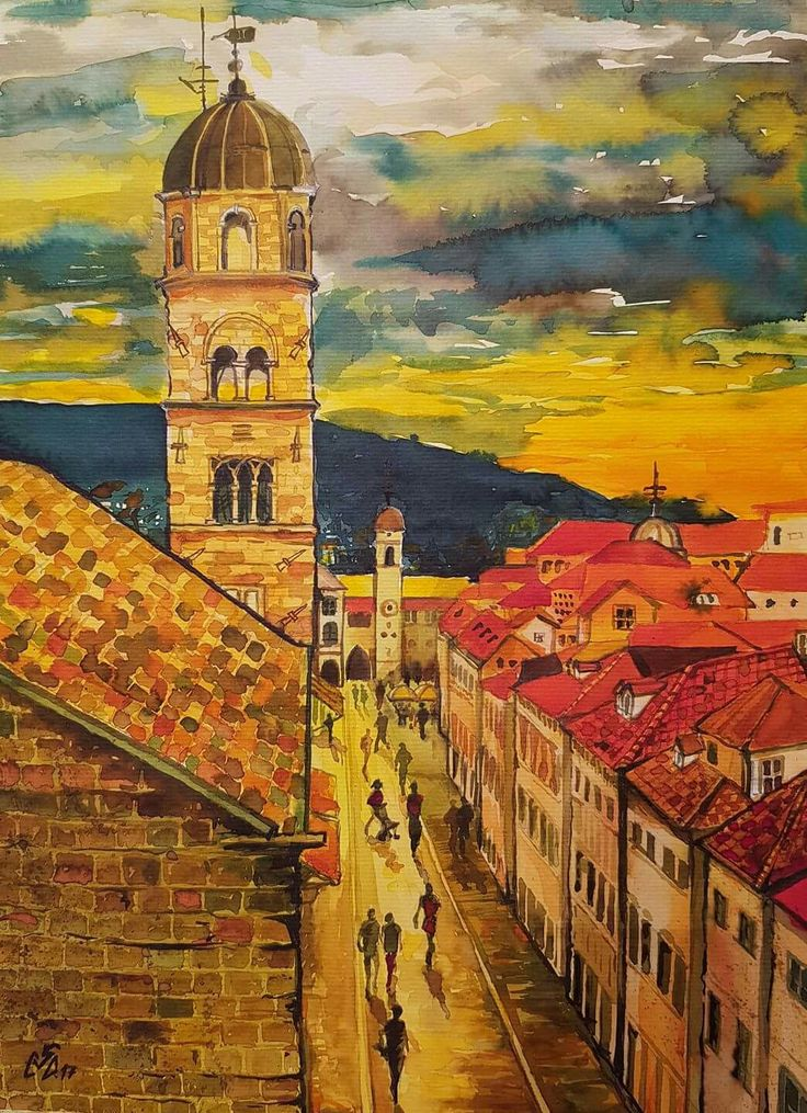 """Sunset Street 2"",Watercolor by Gabriela Calinoiu, Romanian painter. www.picturipeisaje.wordpress.com"