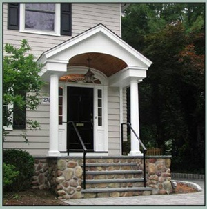 Love the shape of this portico, maybe make the top molding a bit fancier? Also a touch longer. Don't want it super long, but would like to protect people from rain.