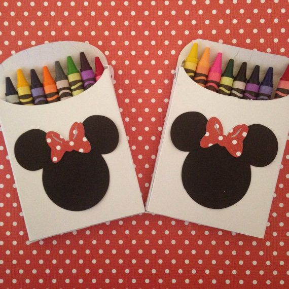 These crayon boxes are the perfect gifts for your friends. I have three different options available. There is a Mickey set, Minnie set in red, and