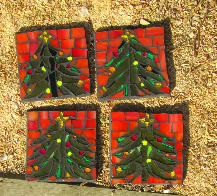 Christmas Tree Mosaic Coasters