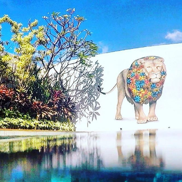 4 Quarters Villas, Bali, Indonesia, Wall art, Mural, Lion, Private Pool, Travel, Holiday, summer