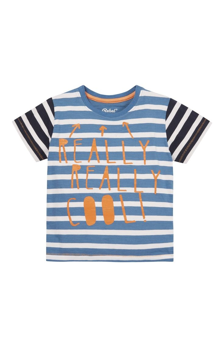 Primark - Navy Really Cool Stripe T-Shirt