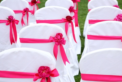Wedding chair covers and decorations.