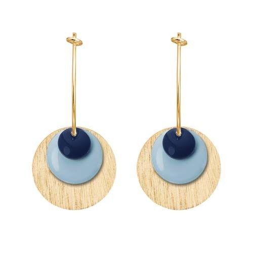 ENAMEL Copenhagen drops earring coin, dark blue, light blue, gold