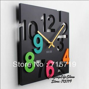 Free shipping Fashion wall clock mute clock decoration cutout digital pocket watch clock-inWall Clocks from Home  Garden on Aliexpress.com $19.99
