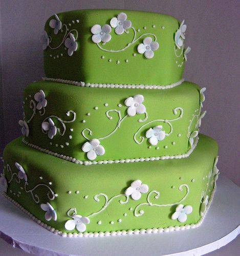 blue and green Wedding Cakes with Flowers | Green and Periwinkle hydrangea , originally uploaded by CakesByShara .