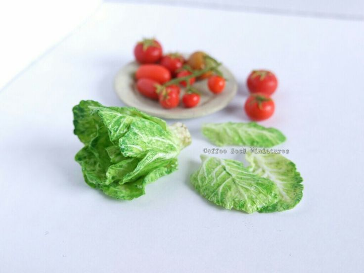 Miniature polymer clay lettuce and tomatoes