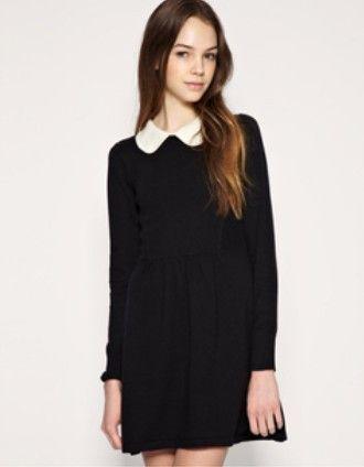 vestido negro con cuello blanco - Buscar con Google